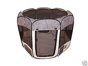 New Small Leopard Skin Pet Dog Tent Puppy Playpen Exercise Pen S