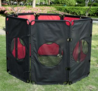 New Large Folding Soft Pet Playpen Exercise Cage Dog Pen Puppy Kennel Black Red