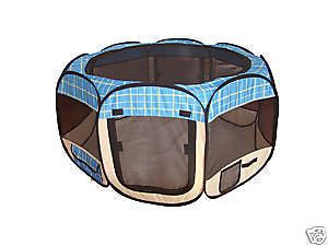 Blue Plaid Cat Pet Dog Tent Puppy Playpen Exercise Pen