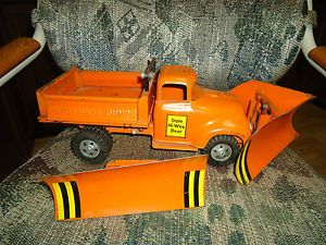 Vintage Tonka State Hi Way Dept Hydraulic Dump Truck w Both Original Plows