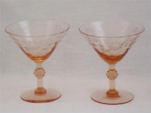 Pair 2 Vintage Pink Depression Glass Cordial Wine Coctail Crystal Glasses Mint