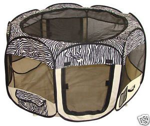 Zebra Pet Dog Cat Tent Puppy Play Exercise Pen Crate S