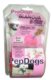"Omega Paw Glamour Tricky Treat Ball Pink Medium 3"" Dog Puppy Food Dispensing Toy"