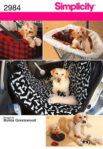 Dog Safe Travel Car Seat Cover Toys Puppy New Simplicity Sewing Pattern 2984