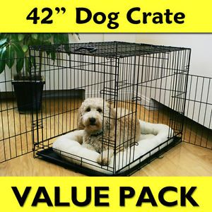 "42"" Folding Dog Crate Value Pack w Bed Adjustable Feeder Leash Puppy Pads"