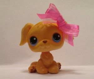 Littlest Pet Shop Golden Retriever 21 Yellow Puppy Dog Blue Eyes LPS Lot