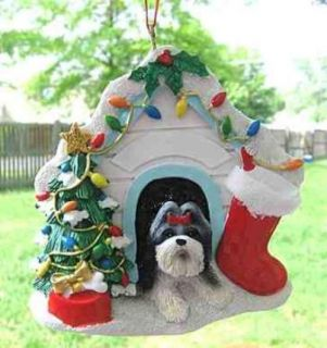 New Shih Tzu Dog House Christmas Ornament