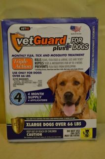 Vetguard Plus XLarge Dogs 4 Month Supply Flea Tick Mosquito Treatment New D