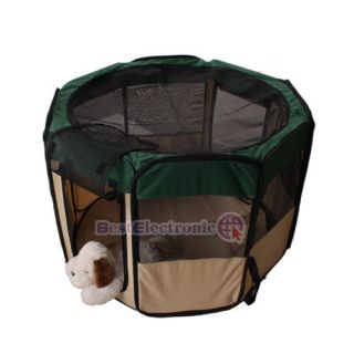 "Green 35"" Pet Puppy Dog Playpen Exercise Pen Kennel"