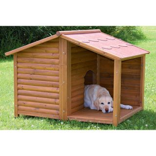 Rustic Large Outdoor All Weather Durable Covered Porch Wood Pet Kennel Dog House