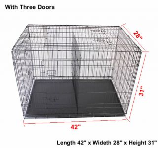 "42"" 48"" 3 Door Folding Pet Crate Dog Cage Suitcase Exercise Playpen w Divider"