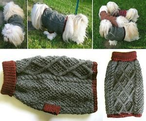 Dog Sweater Coat Fairisle Hand Knit Original Medium Harvard Burgundy Gray