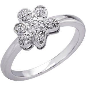 Dog Cat Ring Tender Voices® Aspca® Paw Print Diamond Ring 1 6 Ct Diamonds