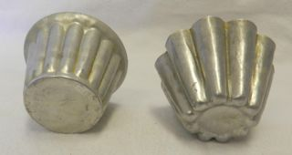 Vintage Lot of 2 Aluminum Metal Baking Cup Cake Muffin Tart Crimped Mini Molds