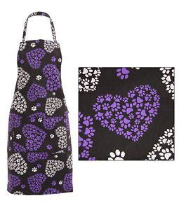 Full Apron Dog Cat Purple White Black Paw Print Heart 100 Cotton w Pocket