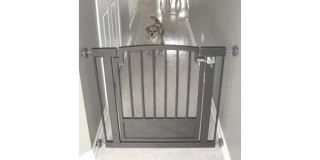 Adjustable Steel Metal Door Dog Gate Barrier Mocha