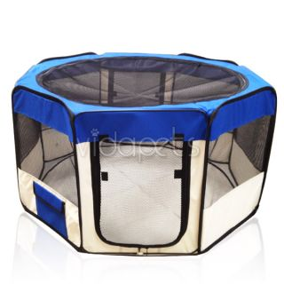 "45"" Wide Blue 2 Door Soft Pet Playpen Dog Guinea Pig Puppy Exercise Pen Kennel"