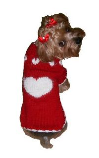 Dog Clothes Red Puppy Love Sweater XXS thru XL Chihuahua Yorkie Pet Apparel