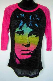 The Doors Jim Morrison Face Distressed Pink Black Burnout Raglan T Shirt