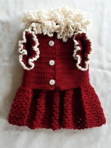 Christmas Crocheted Dog Clothes Apparel Sweater Dress Wine Off White Small