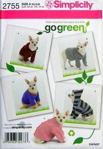 Sewing Pattern Simplicity 2755 Dog Clothes Sweater Hoodie XS Med Go Green New
