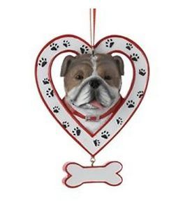 Bulldog in Paw Print Heart with Dog Bone Christmas Ornament Holiday Decoration
