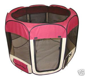 Burgundy Pet Dog Cat Tent Puppy Playpen Exercise Pen M