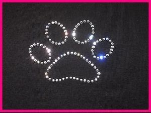 Custom Dog Cat Animal Paw Print Rhinestone T Shirt