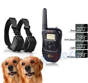 Waterproof Rechargeable LCD Shock Vibrate Remote Dog Training Collar 2 Dogs