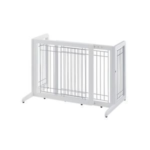 New Richell Freestanding Expandable Wooden Pet Dog Gate Door Small White R94156