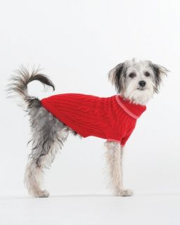 Classic Cable Dog Sweater Clothes Apparel SM Red