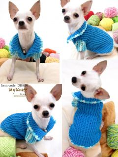 Handmade Hand Knit Crochet Dog Puppy Dress Apparel Clothes Clothing Sweater D856