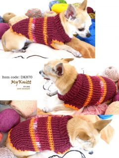 Handmade Crochet Jumper Doggie Clothing Dogs Clothes Knitting Sweater Pets D870