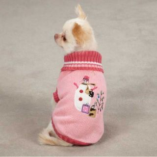 East Side Collection Snowflake Snuggler Dog Sweater Pet Pink Blue XXS L Faux Fur