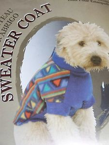 Doggiduds Polar Fleece Dog Sweater Coat Aztec Bright Blue XL Extra Large NIP