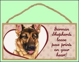 "German Shepherds Leave Paw Prints on Your Heart 10"" x 5"" Wooden Dog Sign"