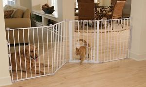 "Flexi Walk thru Dog Cat Steel Gate Room Barrier Fence w Pet Door 76""w x 30 5""H"