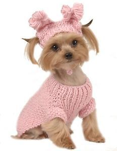 Max's Closet Pet Dog Clothing Pink Cable Sweater w Hat Small Dog New XS L
