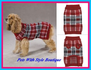 Zack Zoey English Plaid Dog Sweater Coat Red