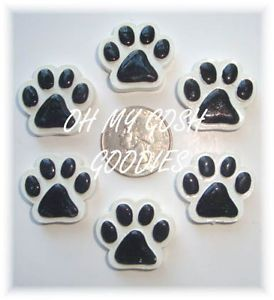 6pc Black Paw Print Flatback Flat Back Resins 4 Football Hairbow Bow Dog Collar
