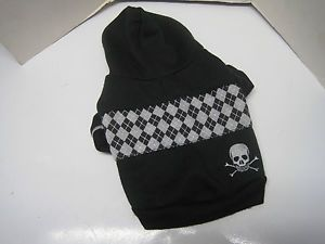 Black Skull Crossbones Dog Coat Size s Small Hoodie Pet Clothes Top Paw