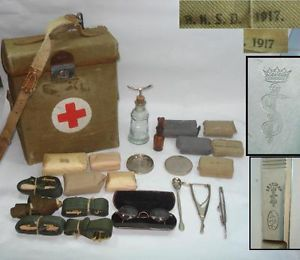 WWI 1916 Original German Army Medic First Aid Bag w Full Equipment – Very RARE