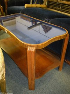 American Art Deco Coffee Table Blue Glass Top Kidney Shape