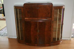 Antique Art Deco English Side Board Liquor Cabinet Walnut Original Parts 1930 40