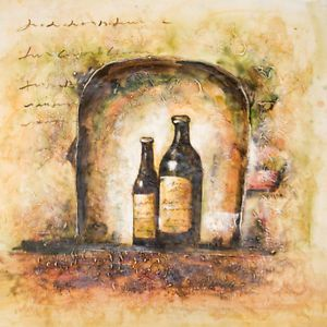 "32""x32"" Wall Art Modern Oil Painting Hand Painted Contemporary Wine Bottles"