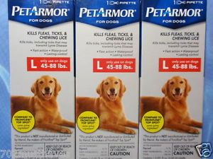3 Pet Armor Flea Tick Lice Treatment Drops • Dogs Puppies Large 45 88 Lbs