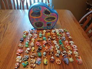 Littliest Pet Shop Animals Lot of 70 Cats Dogs Fish Bugs ect Carrying Case
