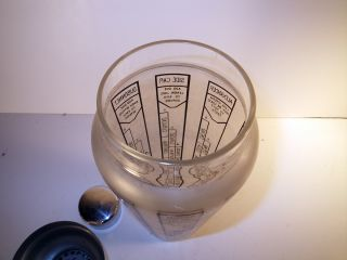 Vintage Antique Art Deco Frosted Cocktail Martini Shaker Glass Recipe with Lid