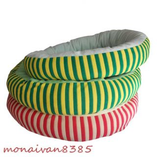 Stripes Pink Green Round Pet Cat Dog Bed Warm Fleece House Nest Pad Mat Cushion