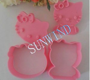 New Pink Cake Tools 2 Set 4 Pcs Hello Kitty Mould Art Set Sugar Fondant Cake